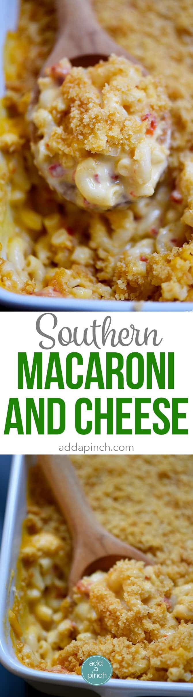 Southern Macaroni and Cheese Recipe - Macaroni and cheese makes a classic dish everyone loves. Make-ahead and freezer friendly! // addapinch.com