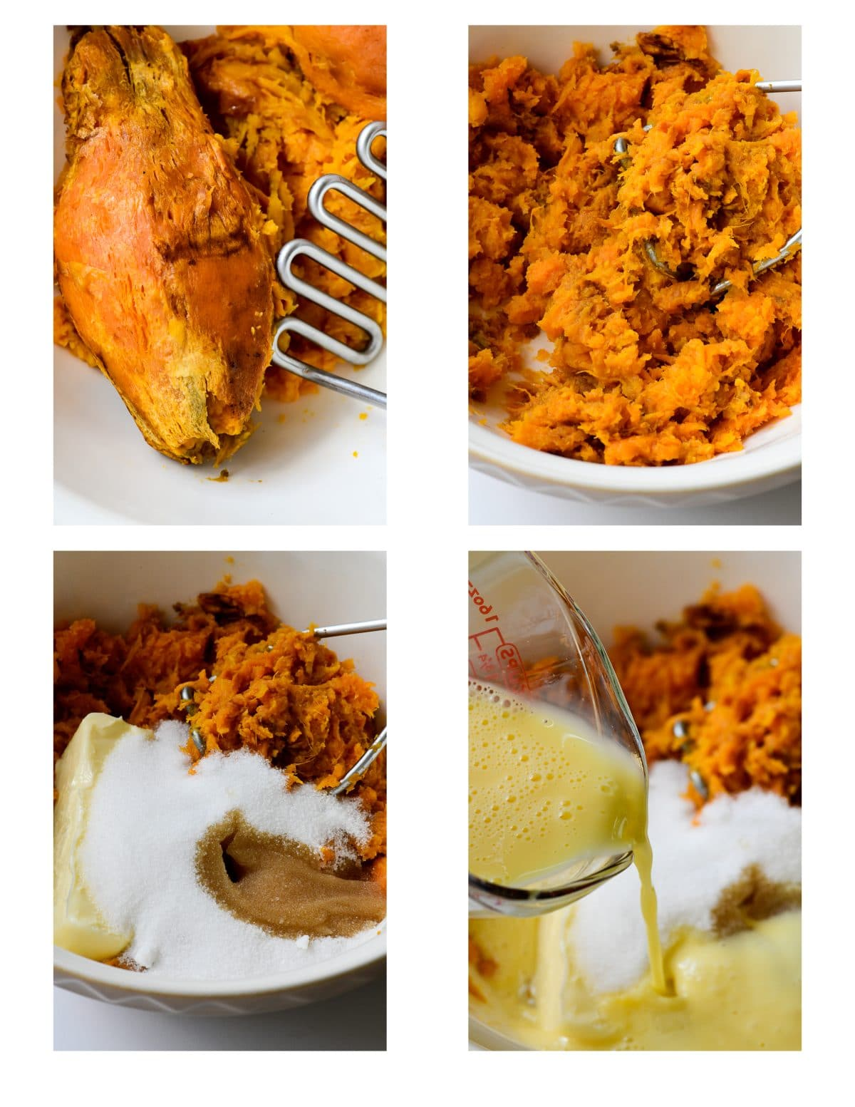 Collage photograph showing step by step instructions on how to make a sweet potato pie.
