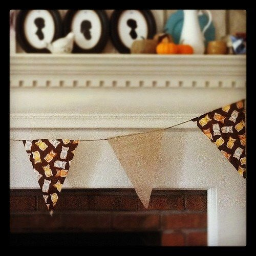 Fall Mantle with Burlap Pendant