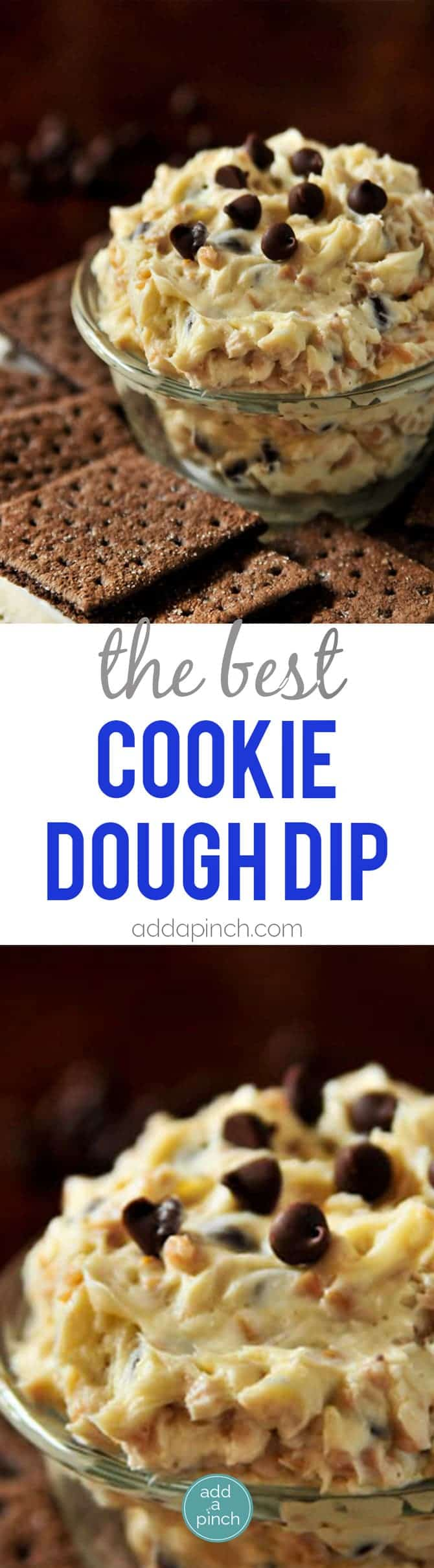 The BEST Cookie Dough Dip Recipe - Seriously the BEST Cookie Dough Dip Recipe that I've ever tasted! So quick and easy and always a favorite when you serve it! This creamy dip tastes just like cookie dough in dip form! Made with cream cheese, chocolate chips, and a secret ingredient that takes it over the top! Everyone will ask for the recipe! Serve with graham crackers, pretzels or fruit! // addapinch.com