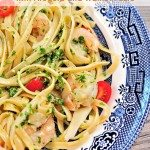 Shrimp Pasta with Arugula and Walnut Pesto Recipe