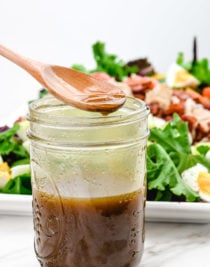 Balsamic Vinaigrette Dressing is one of the easiest and most diverse dressings. Ready in three minutes, it can be served with a salad, vegetables, or drizzled on top of fish or chicken for an amazing meal. // addapinch.com