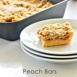 Peach bars make a wonderful make-ahead breakfast, delicious snack, or an amazing dessert. Made with shortbread and a oat crumble, these peach bars are a favorite!