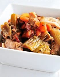 Slow Cooker Chunky Chicken Vegetable Soup can be served as a traditional chunky soup or served over noodles or mashed potatoes for a versatile dish. // addapinch.com