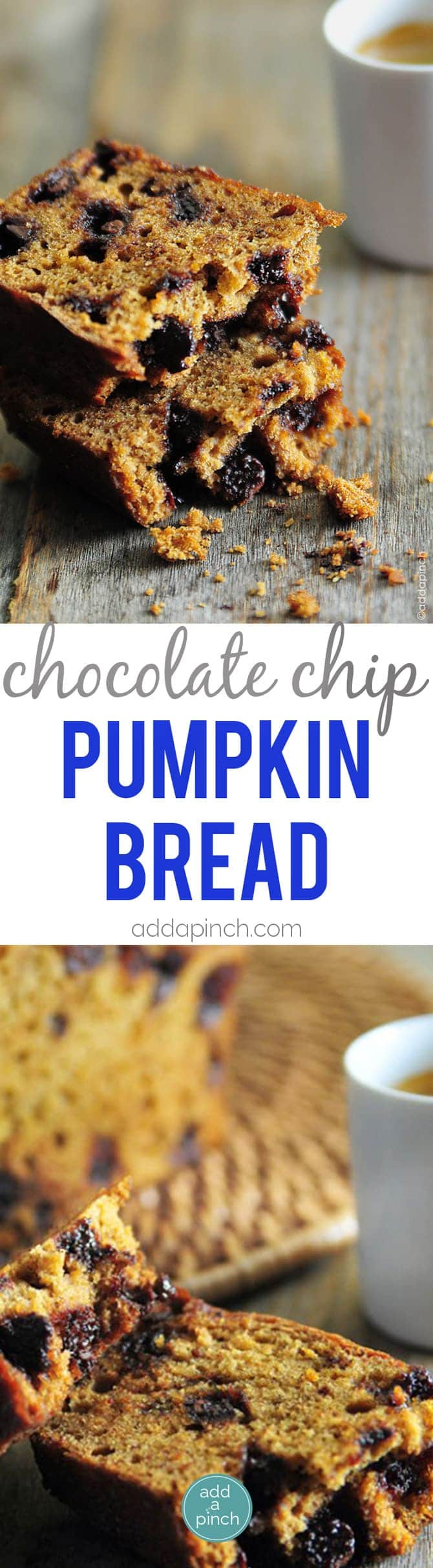 Chocolate Chip Pumpkin Bread Recipe - Chocolate Chip Espresso Pumpkin Bread will quickly become one of your most looked forward to pumpkin bread recipes. Seriously, this pumpkin bread is a year-round favorite! // addapinch.com