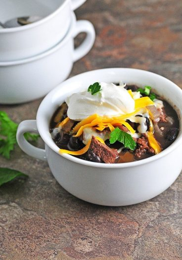 Black Bean and Steak Soup is one of my favorite soup recipes. It's so hearty and filling and just down right delicious. // addapinch.com