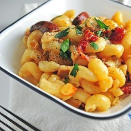 Roast Chicken Pasta with Sundried Tomatoes makes a comforting, delicious meal. Ready in under 30 minutes! // addapinch.com