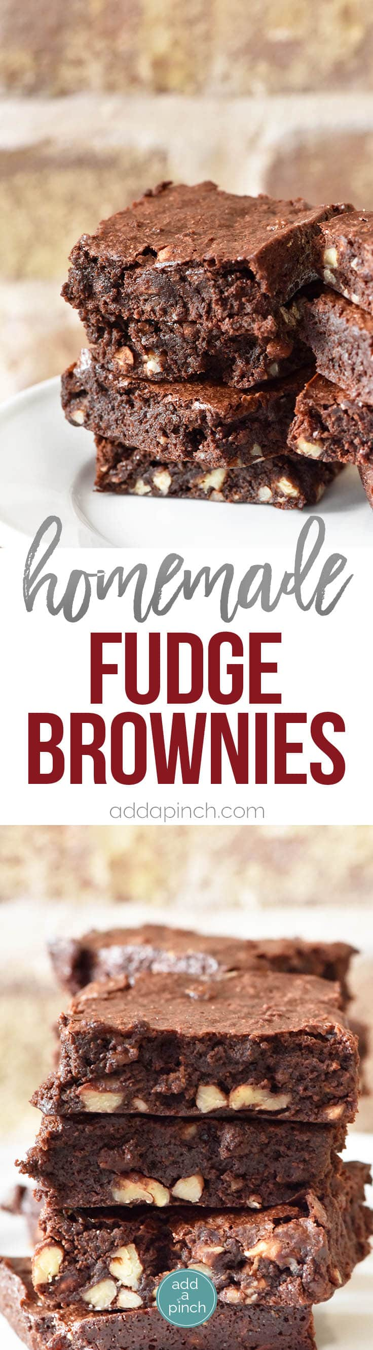 Fudge Brownies Recipe - Fudge brownies are a favorite chocolate dessert and this recipe makes decadent, scrumptious fudge brownies from scratch. // addapinch.com