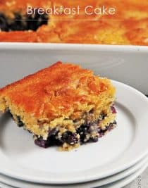 Lemon Blueberry Breakfast Cake Recipe - This breakfast cake recipe features tart lemon and fresh, sweet blueberries in a delicious, easy recipe.  // addapinch.com