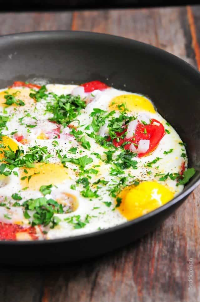Tomato Baked Eggs Recipe Cooking Add A Pinch Robyn Stone