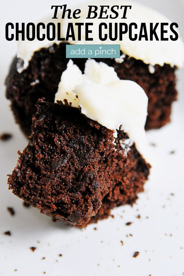 Chocolate Cupcakes with Vanilla Buttercream Frosting on white plate - with text - addapinch.com