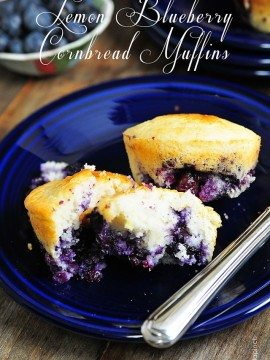 Lemon Blueberry Cornbread Muffins