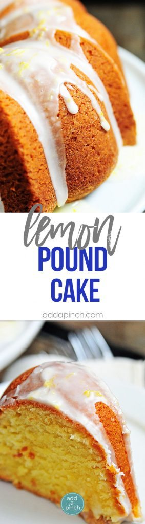 Lemon Pound Cake Recipe - Lemon Pound Cake makes a delicious dessert for lemon lovers! Made with lemon juice, lemon zest, and topped with a lemon buttermilk glaze, this lemon pound cake recipe is a treasure! // addapinch.com