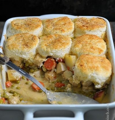 Chicken Pot Pie with Biscuit Topping // addapinch.com
