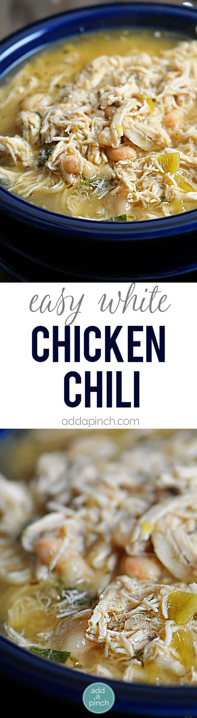 Easy White Chicken Chili Recipe - White Chicken Chili makes a delicious meal full of spicy chili flavor, chicken and white beans. You'll love this easy White Chicken Chili recipe. Stovetop, Slow Cooker and Freezer Instructions are provided to make easily make this White Chicken Chili a favorite anytime! // addapinch.com