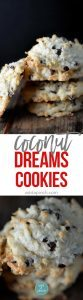 Coconut cookies make a for a favorite of holiday cookie recipes. These Coconut Dream Cookies are filled with mounds of coconut, chocolate, and use coconut oil. // addapinch.com