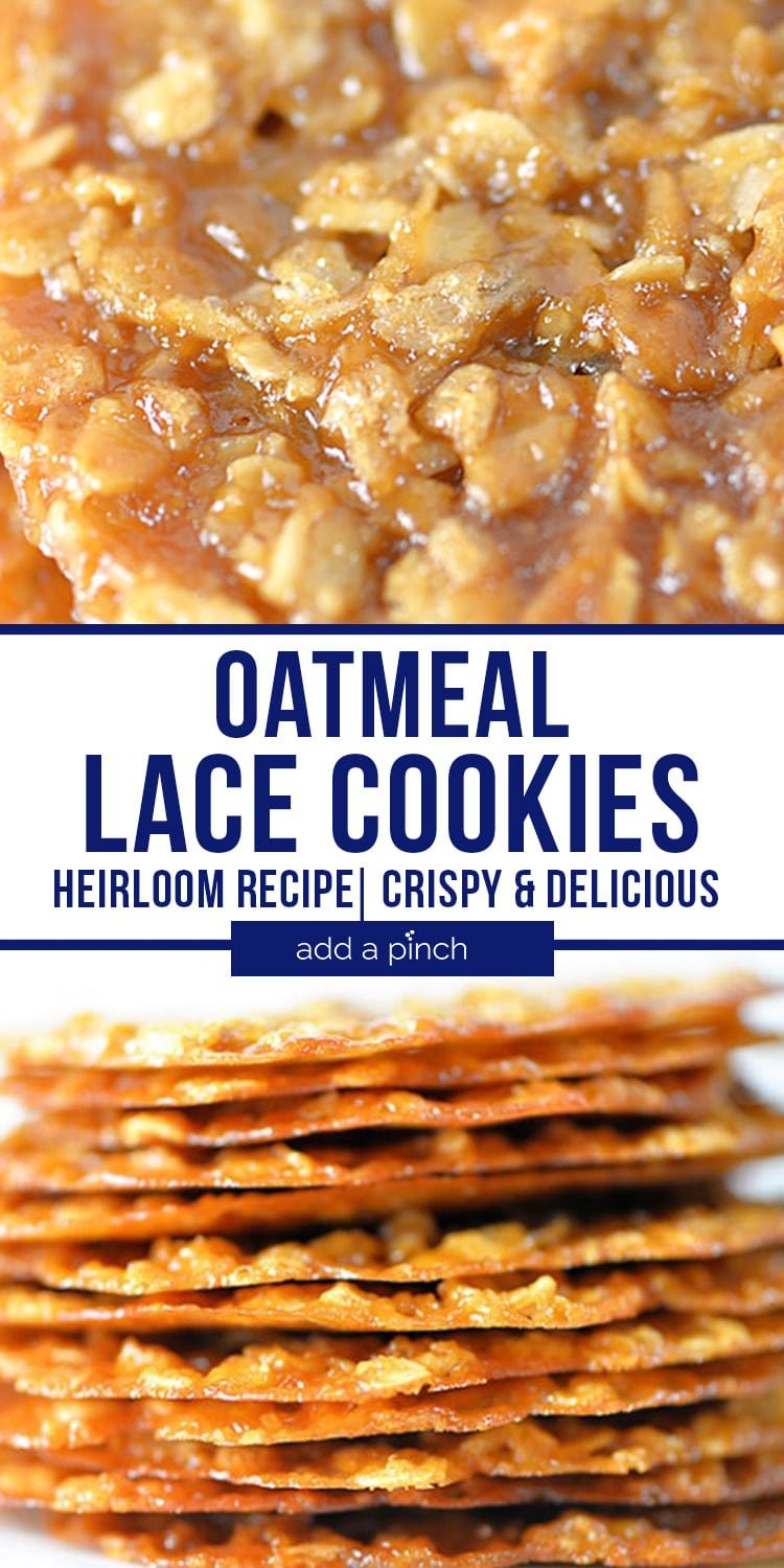 Stack of thin Oatmeal Lace Cookies and close up of cookie - with text - addapinch.com