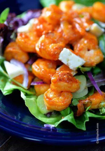 Buffalo Shrimp Salad Recipe // addapinch.com