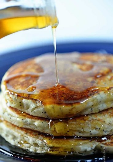 Lemon Poppyseed Pancakes Recipe | ©addapinch.com