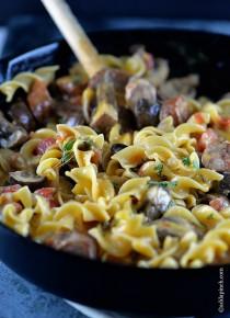 Cheesy Mushroom Sausage Pasta Skillet Recipe