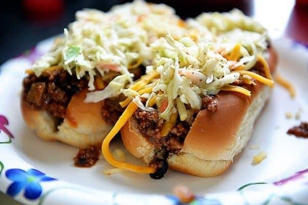 Chili Cheese Slaw Dogs | ©addapinch.com