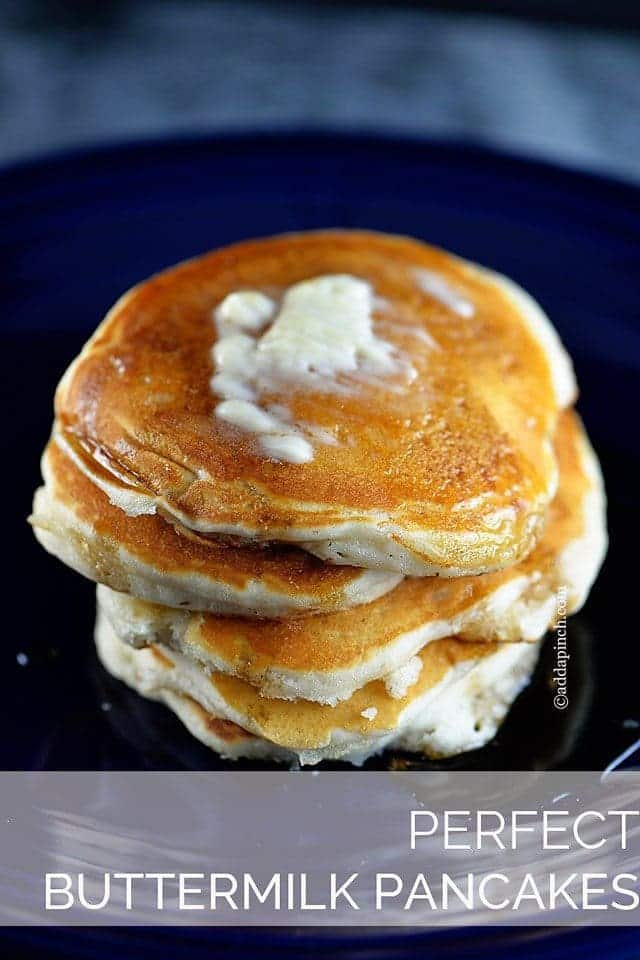 Perfect Buttermilk Pancake Recipe - This Perfect Buttermilk Pancake recipe is quick, easy and delicious! Hot, fluffy homemade pancakes are simple to make with this family favorite recipe! // addapinch.com