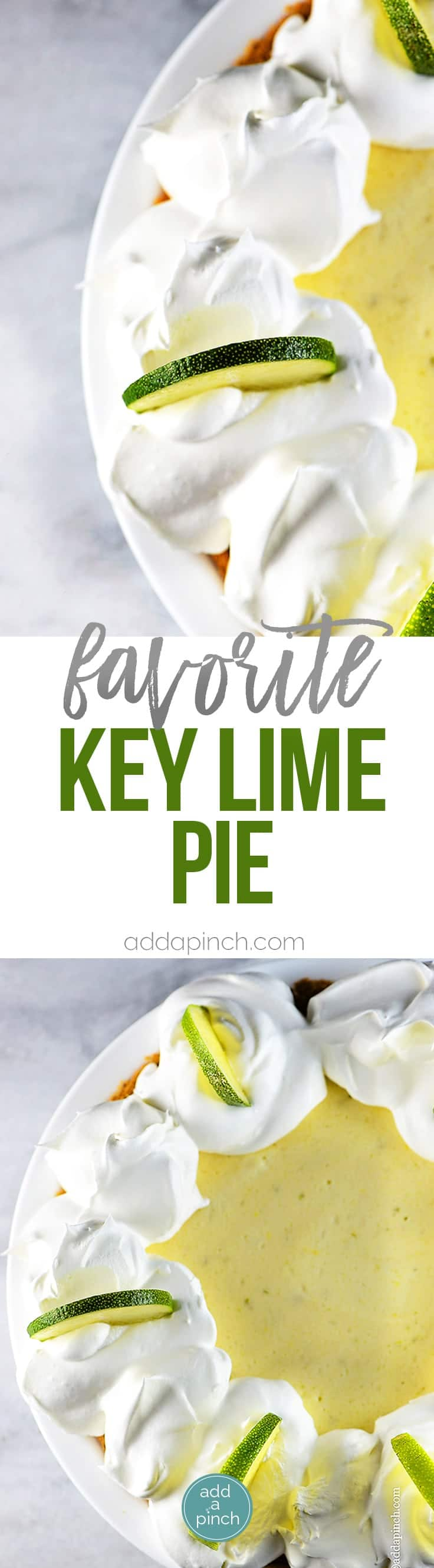 Key Lime Pie Recipe - Key Lime Pie makes a classic, refreshing dessert recipe. Made of simple ingredients, this updated key lime pie recipe comes together quickly and chills to a light and airy consistency for an elegant dessert. // addapinch.com