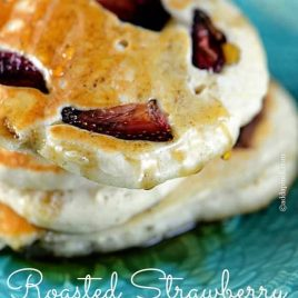 Roasted Strawberry Pancakes Recipe | ©addapinch.com