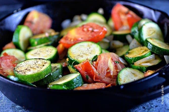 Zucchini recipes are great year-round, but especially throughout the summer. This easy skillet zucchini recipe brings a stir fry flair to a weeknight favorite side dish! // addapinch.com