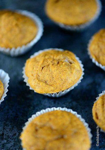 Pumpkin Muffins Recipe from addapinch.com