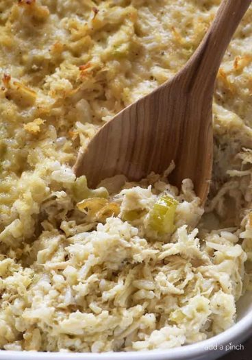 Chicken and Rice Casserole Recipe - Chicken and Rice Casserole makes a classic comforting dish. Made of chicken and rice cooked in a creamy, flavorful casserole, this is a family favorite! // addapinch.com