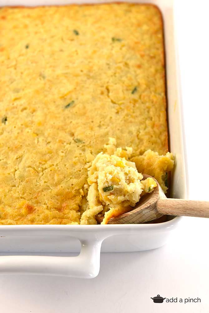 Corn casserole makes a comforting classic casserole! Made of creamed and whole corn, this corn casserole comes together quickly and makes a favorite side dish! // addapinch.com