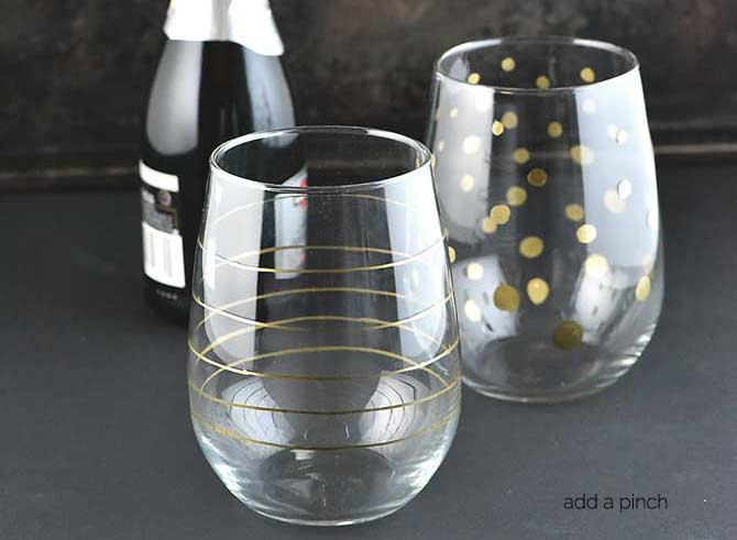 DIY Gold Accented Glasses from addapinch.com