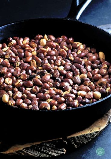 Skillet Roasted Peanuts Recipe from addapinch.com
