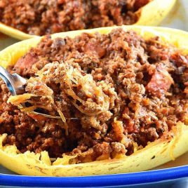 Stuffed Spaghetti Squash Recipe from addapinch.com