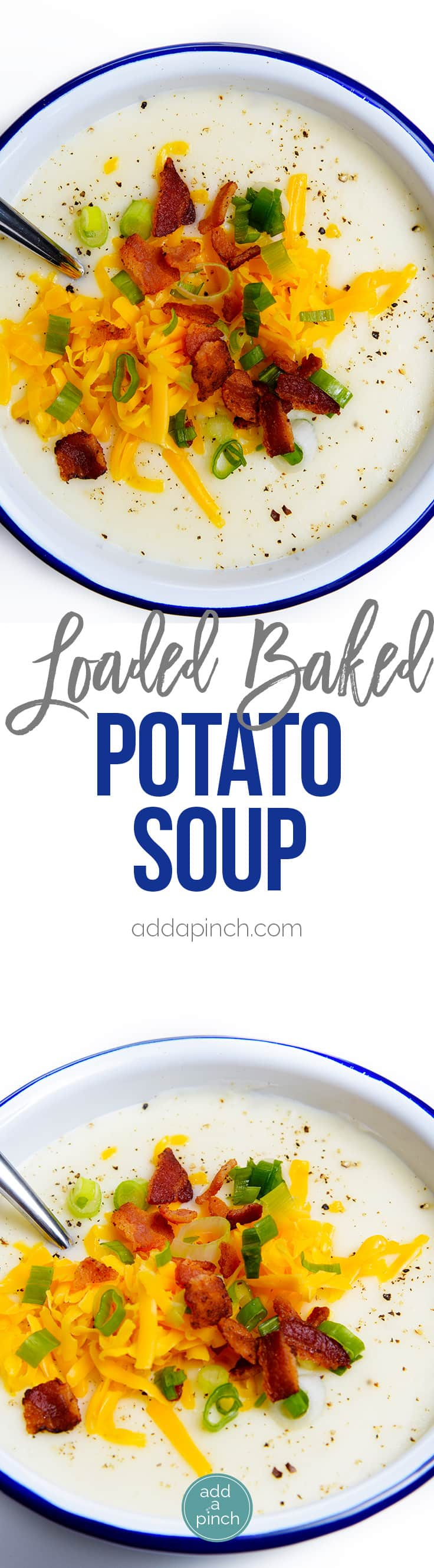 Loaded Baked Potato Soup Recipe - Loaded baked potato soup makes a warm, comforting potato soup recipe. Made with baked potatoes blended into a creamy soup and topped with your potato bar favorites! // addapinch.com