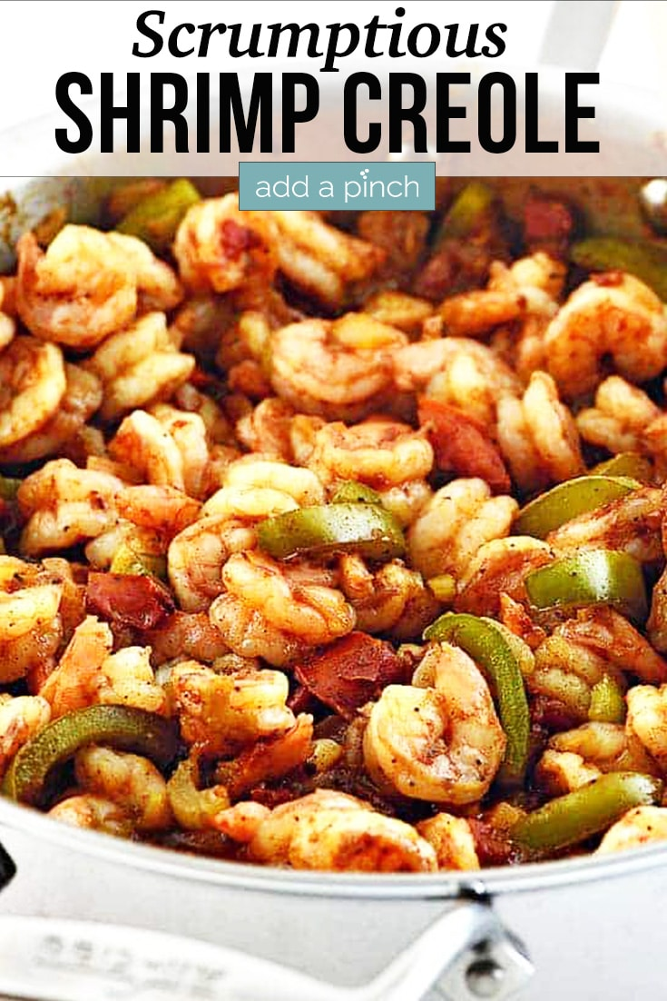 Shrimp Creole in stainless skillet - with text - addapinch.com