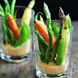 Crudites with Red Pepper Dip on addapinch.com