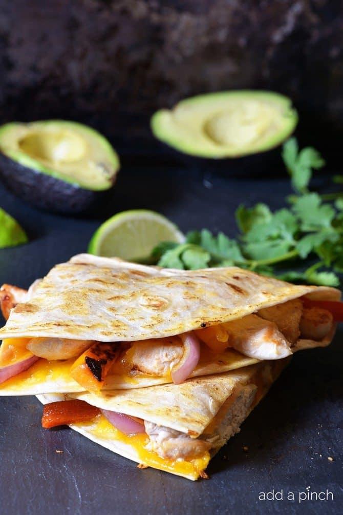 Chicken Fajita Quesadilla Recipe from addapinch.com