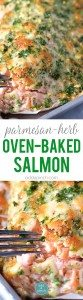 Baked Salmon Recipe - Baked salmon makes a weeknight meal that is easy enough for the busiest of nights while being elegant enough for entertaining. This oven baked salmon with a Parmesan herb crust is out of this world delicious! // addapinch.com
