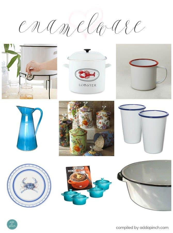 Enamelware is such a well-loved classic! It has served such utilitarian, everyday purposes for generations and is now decorating the homes  of many people of all ages.