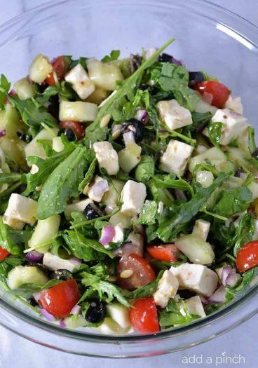 Arugula Greek Salad Recipe from addapinch.com