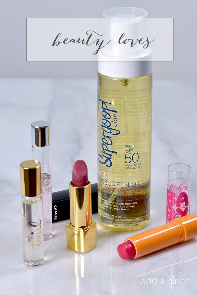 Beauty Loves is a series where I share items I'm loving from the drugstore beauty aisle to the department store beauty counter! This month includes my favorite lips, spray sunscreen and more! // addapinch.com