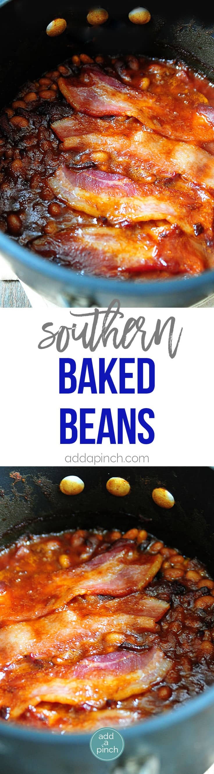 Southern Baked Beans Recipe - This recipe makes the perfect side dish for so many meals! This easy baked beans recipe will become a favorite! // addapinch.com