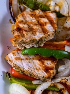 Grilled Pork Loin with Peppers and Onions Recipe
