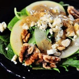 Apple Walnut Salad - Apple Walnut Salad is a delicious blend of spinach, tart juicy apples, walnuts and creamy bleu cheese crumbles. It is simply perfect for fall. // addapinch.com
