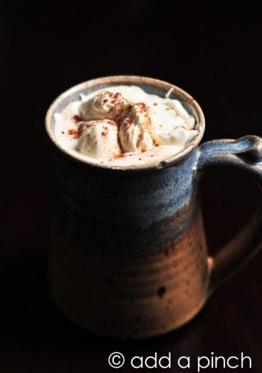Homemade Mocha Recipe - Homemade Mocha recipe that you'll turn to time and again. Made with fresh coffee and homemade hot cocoa mix, this mocha is a favorite. // addapinch.com