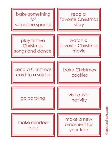 Childrens Christmas Advent Calendar Printable Free