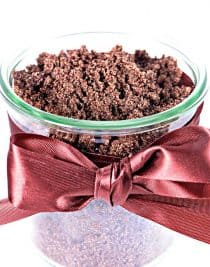 Brown Sugar Cinnamon Sugar Scrub makes a delicious smelling sugar scrub that is made of just four ingredients and ready in minutes! Great for gifts! // addapinch.com