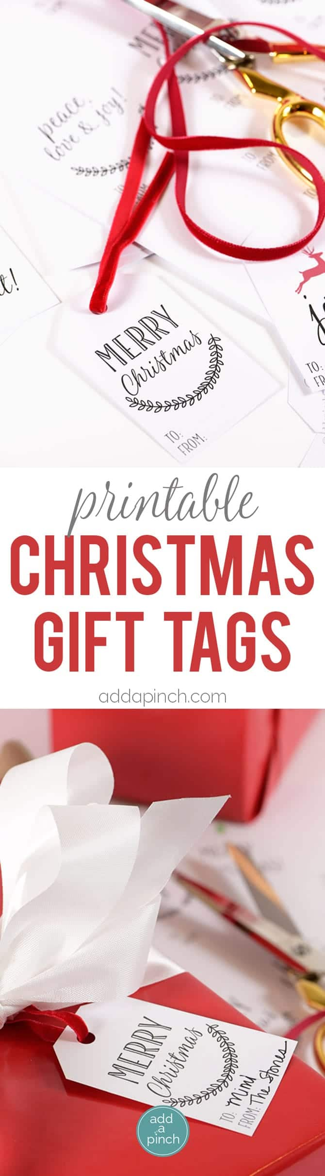 Christmas gift tags just dress up a Christmas gift and make it even more special! These free printable Christmas gift tags are designed for quick and easy printing to make your holiday gift giving even easier! // addapinch.com
